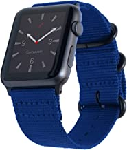 Carterjett Extra Large Compatible with Apple Watch Band Men 44mm 42mm XL Long Woven Nylon iWatch Band Replacement Strap Rugged NATO Hardware for Series 4 Series 3 2 1 Nike Sport (42 44 XXL Blue)