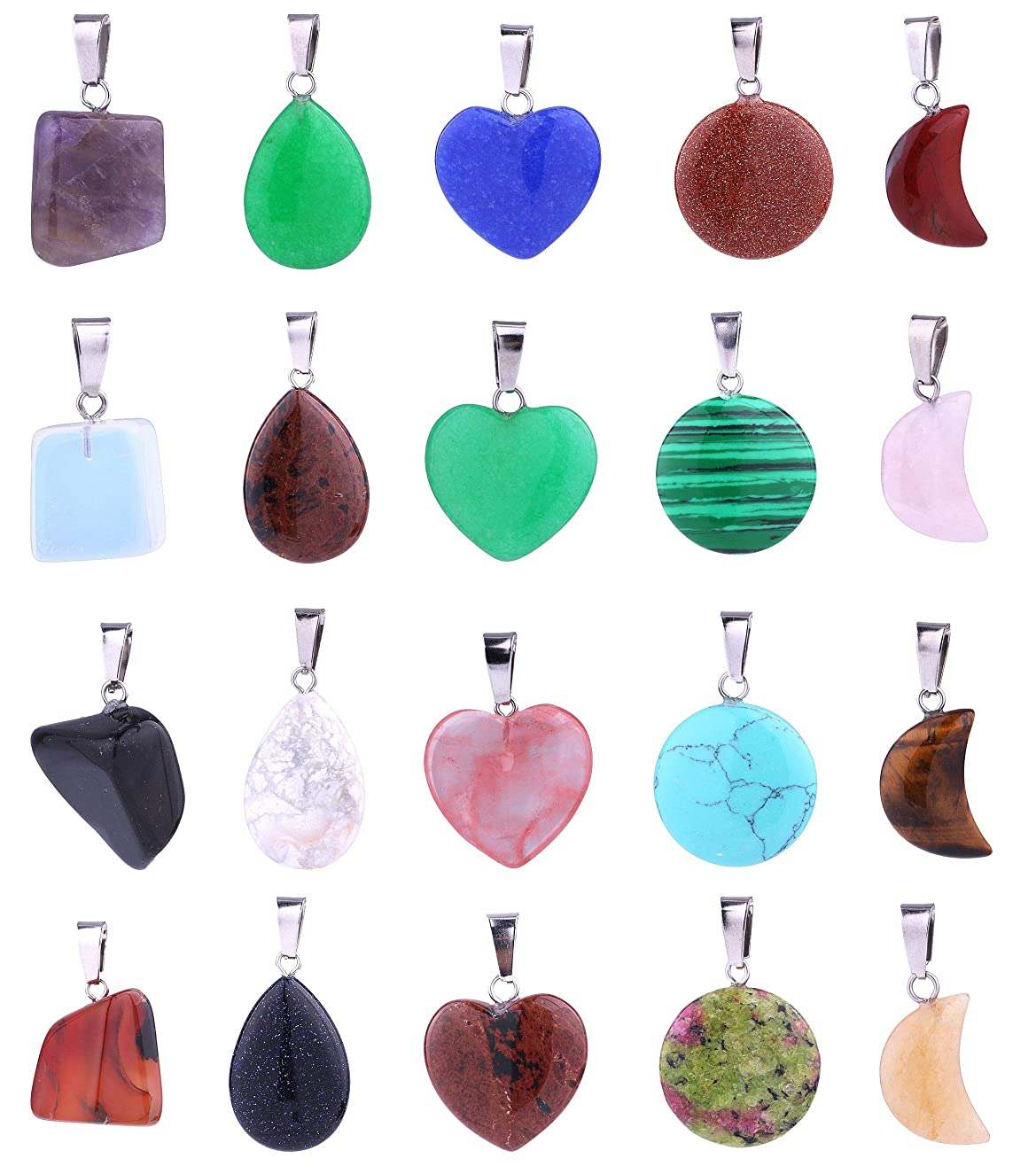 20pcs Mix Style Natural Stones Irregular Round Heart Moon Drop Healing Stone Pendants Charms Crystal Chakra Beads for DIY Necklace Jewelry Making, Assorted Color