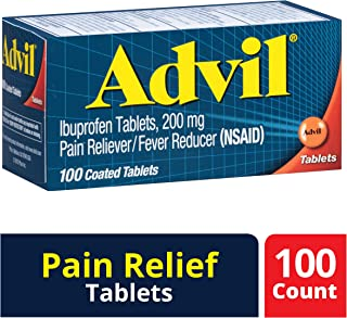 Advil (100 Count Pain Reliever/Fever Reducer Coated Tablet, 200mg Ibuprofen, Temporary Pain Relief