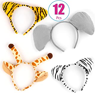 12 Plush Zoo Animal Ear Headbands - Giraffe, Zebra, Elephant and Tiger