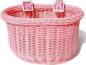 Colorbasket 01266 Kid's Front Handlebar Bike Basket, All Weather, Water Resistant, Adjustable Leather Straps, Food-Contact Safe, Pink