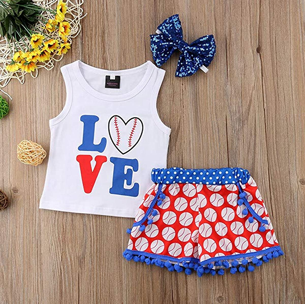 Newborn Baby Girls 3 Pcs Outfits 4th of July Letter Vest Top and Baseball Pompom Shorts Pants Set with Headband