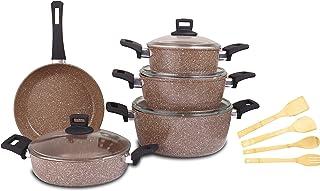 طقم اواني الطهي مصنوعة من الجرانيت لا يلتصق بها الطعام مكون من 13 قطعة باللون البني من كوين، Qu002