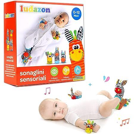 LUDAZON® Sonaglini Sensoriali per lo sviluppo delle capacità intellettive, Giochi Neonato Montessori, Sonaglio in Morbido Peluche, Ideale per Regali Nascita Maschio o Femmina