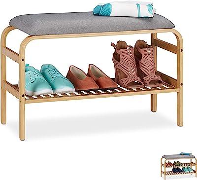 Relaxdays Banc Chaussures, Surface rembourrée, entrée, Garde Robe, Chambre à Coucher, Rangement HlP 46x69x30 cm, Nature, 1