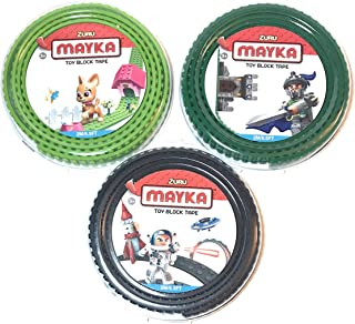 MAYKA™ Toy Block Tape - 2 Stud. 6.5ft (3-Pack) Black, DK Green, LT Green (Compatible with Lego)