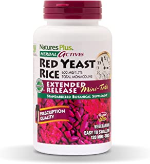NaturesPlus Herbal Actives Red Yeast Rice, Extended Release - 600mg, 120 Mini Tablets - Herbal Supplement, Cholesterol Support - Vegan, Vegetarian, Gluten-Free - 60 Servings
