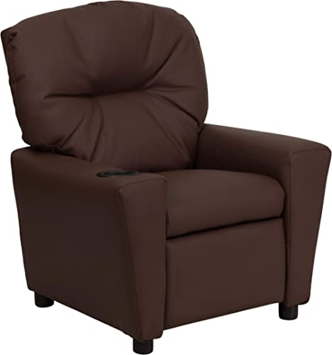 Flash Furniture Contemporary Brown LeatherSoft Kids Recliner with Cup Holder
