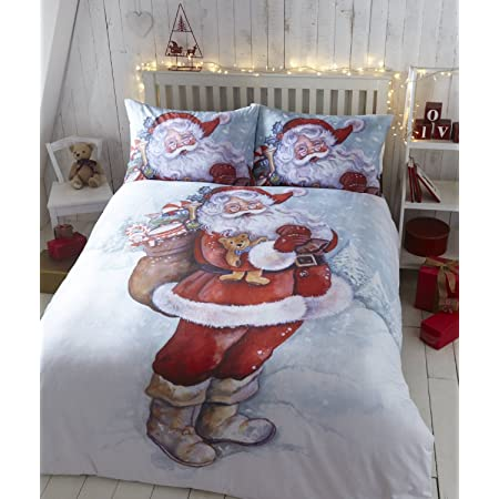 Father Christmas Quilt Duvet Cover Bedding Bed Set Santa Claus, King