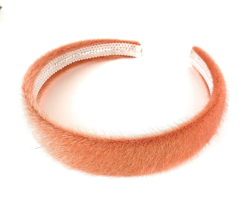 light Orange faux fur headband 1 inch wide furry fuzzy hair band accessory faux fur headband