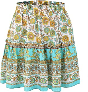 ouxiuli Women's Sexy Cute High Waist Ruffle Skirt Floral Print Swing Beach Mini Skirt