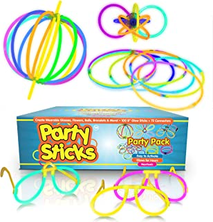 """Party Sticks Glow Sticks Party Favors 100pk - 8"""" Neon Glow Sticks with Various Connectors to Make Glow Bracelets, Glasses, Necklaces, and Flowers"""