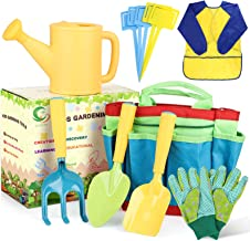 AUSHEN Kids Garden Tools Set, Gardening Tools for Kids with Watering Can, Rake, Shovel, Trowel, Gloves, Kids Smock and 5 P...