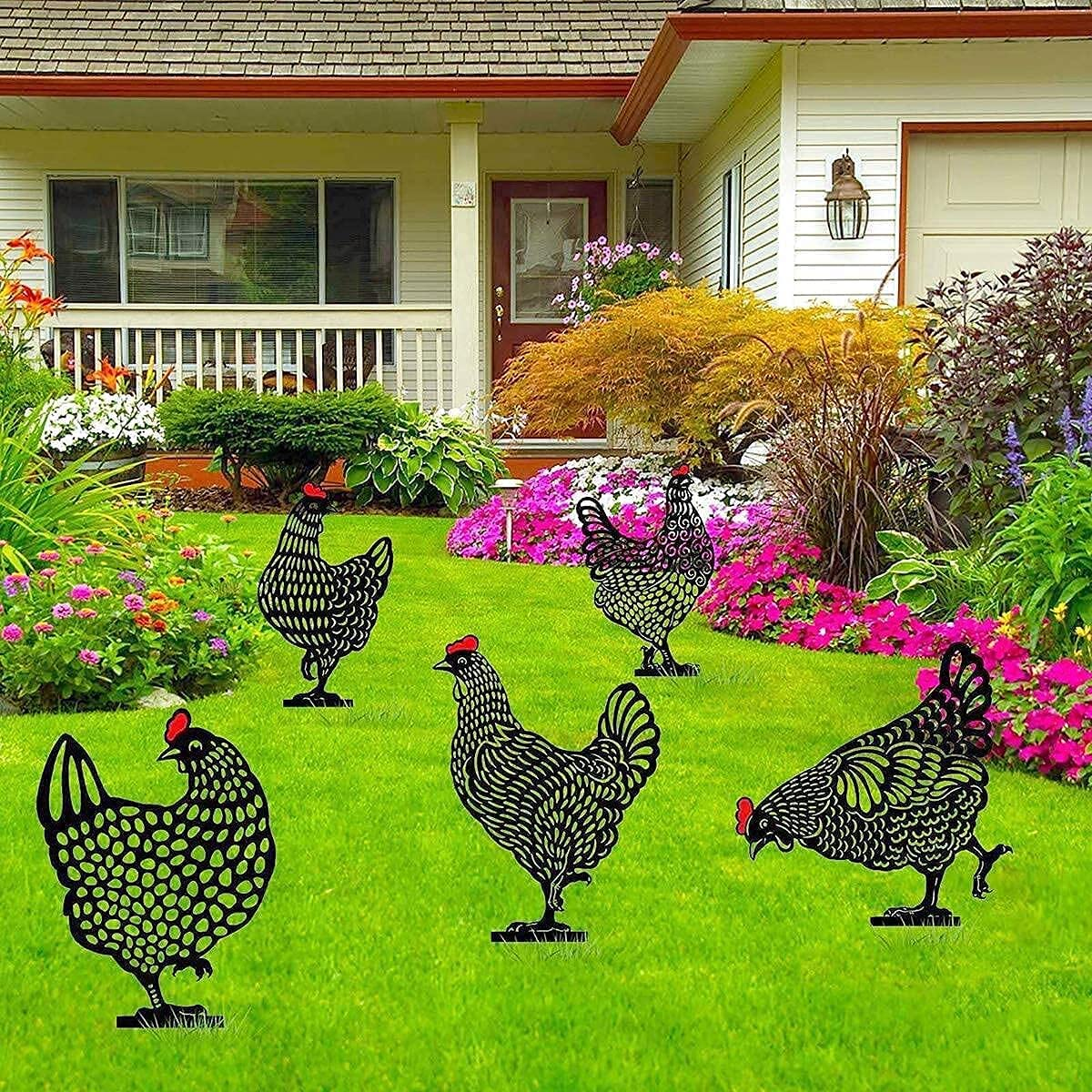 MIKITA 5-Piece Rooster Metal Animal Stakes ,Chicken Garden Silhouette Yard Art,16 inch Black Hollow Out Animal Shape Decor for Outdoor Lawn.