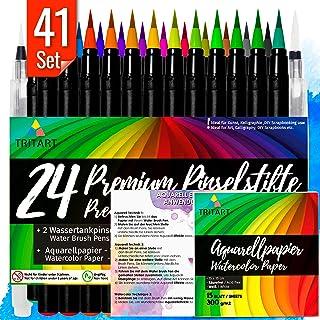 Set feutres pinceaux HAUTE QUALITÉ I 24 Brush Pens pour calligraphie à la main I 2 pinceaux réservoir eau I 15 feuilles Aq...