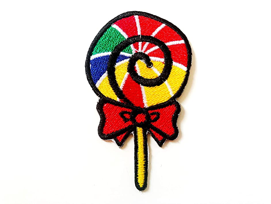 Tyga_Thai Brand Rainbow Sweet Lollipop Candy Cute Hippie Fun Smile Jacket Vest Sew on Iron on Embroidered Applique Patch (Iron-Lollipop-Sweet-Candy)