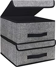 Onlyeasy Foldable Storage Bins Cubes Boxes Lid - Storage Box Cube Cubby Basket Closet Organizer Pack Two Leather Handles C...