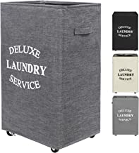ZERO JET LAG 90L Large Laundry Hamper on Wheels Rolling Basket Dirty Clothes Hamper Organizer Tall with Handles Collapsibl...