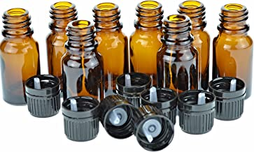 10 Ml Amber Glass Bottle W/Euro Dropper with Black Cap, 8 Pack