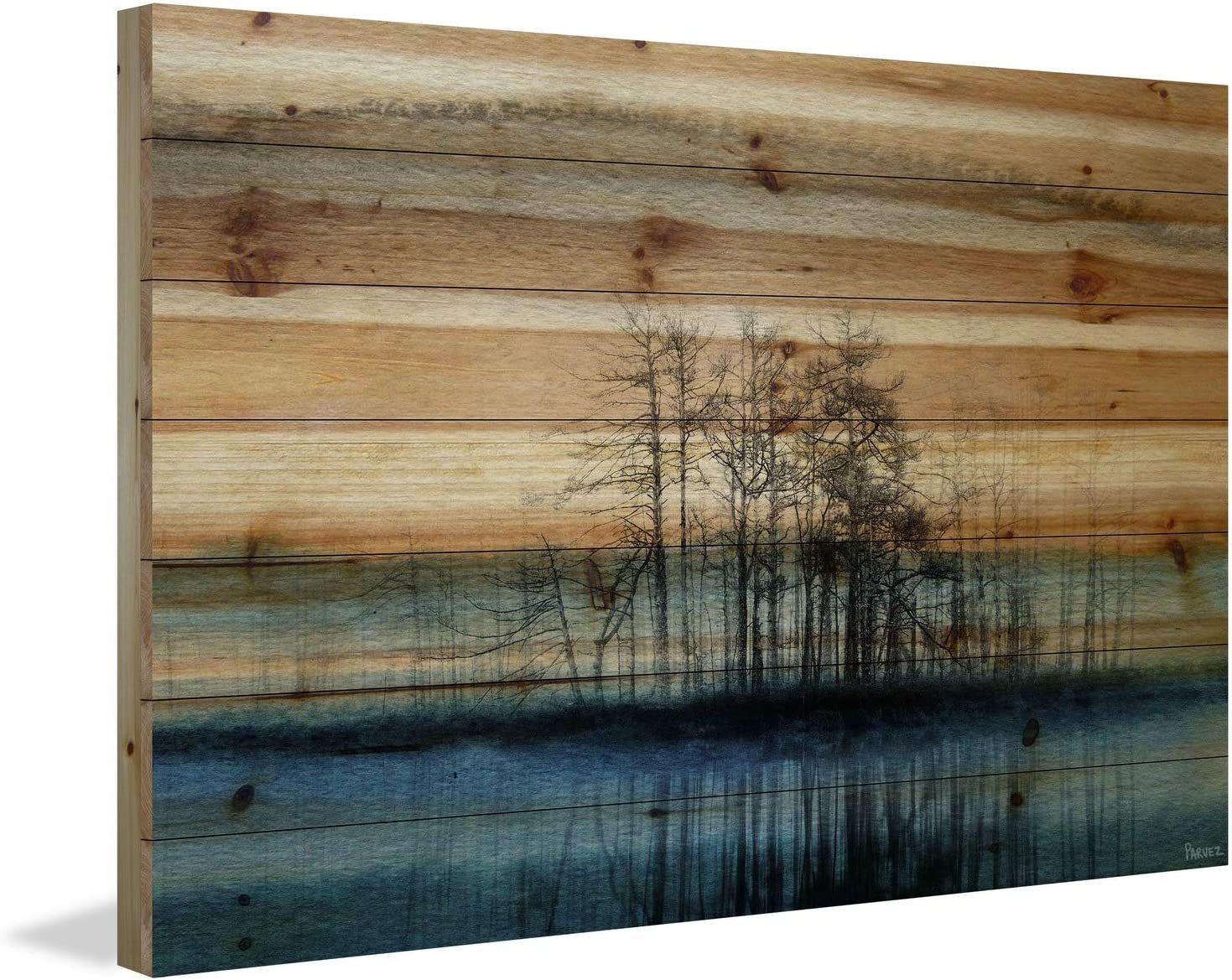 2021 autumn and winter new Parvez Taj Tree Isle Detroit Mall Reflects Painting Print Natural on Woo Pine