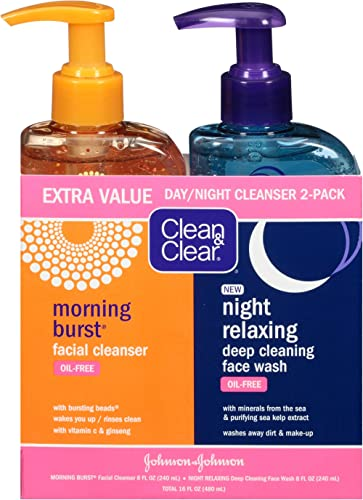 Clean & Clear 2-Pack Day and Night Face Cleanser Citrus Morning Burst Facial Cleanser with Vitamin C and Cucumber, Re...
