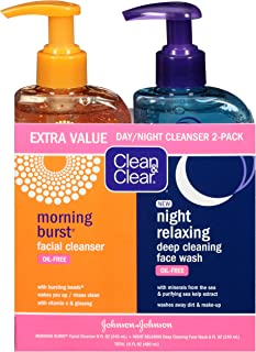Clean & Clear 2-Pack Day and Night Face Cleanser Citrus Morning Burst Facial Cleanser with Vitamin C and Cucumber, Relaxin...