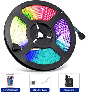 Adoric Tira de luces LED de 5 m, 300 ledes (SMD 3528), cambio de color, fuente de alimentación y mando a distancia, Navida...