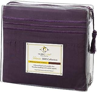 Clara Clark 4 Piece 1800 Series Premier Sheet Set, Queen, Purple