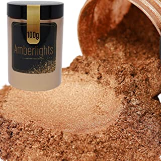 FIREDOTS Amberlights Mica Powder - 100g of Bronze Mica Pearl Pigment Powder for Soap Making, Epoxy Resin, and More - Cosme...
