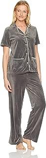HUE Women's Velour Notched Collar 2 Piece Pajama Set
