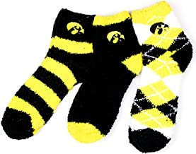 NCAA Iowa Hawkeyes 3 Piece Fuzzy Sock Bundle, Multicolor, One Size Fits Most