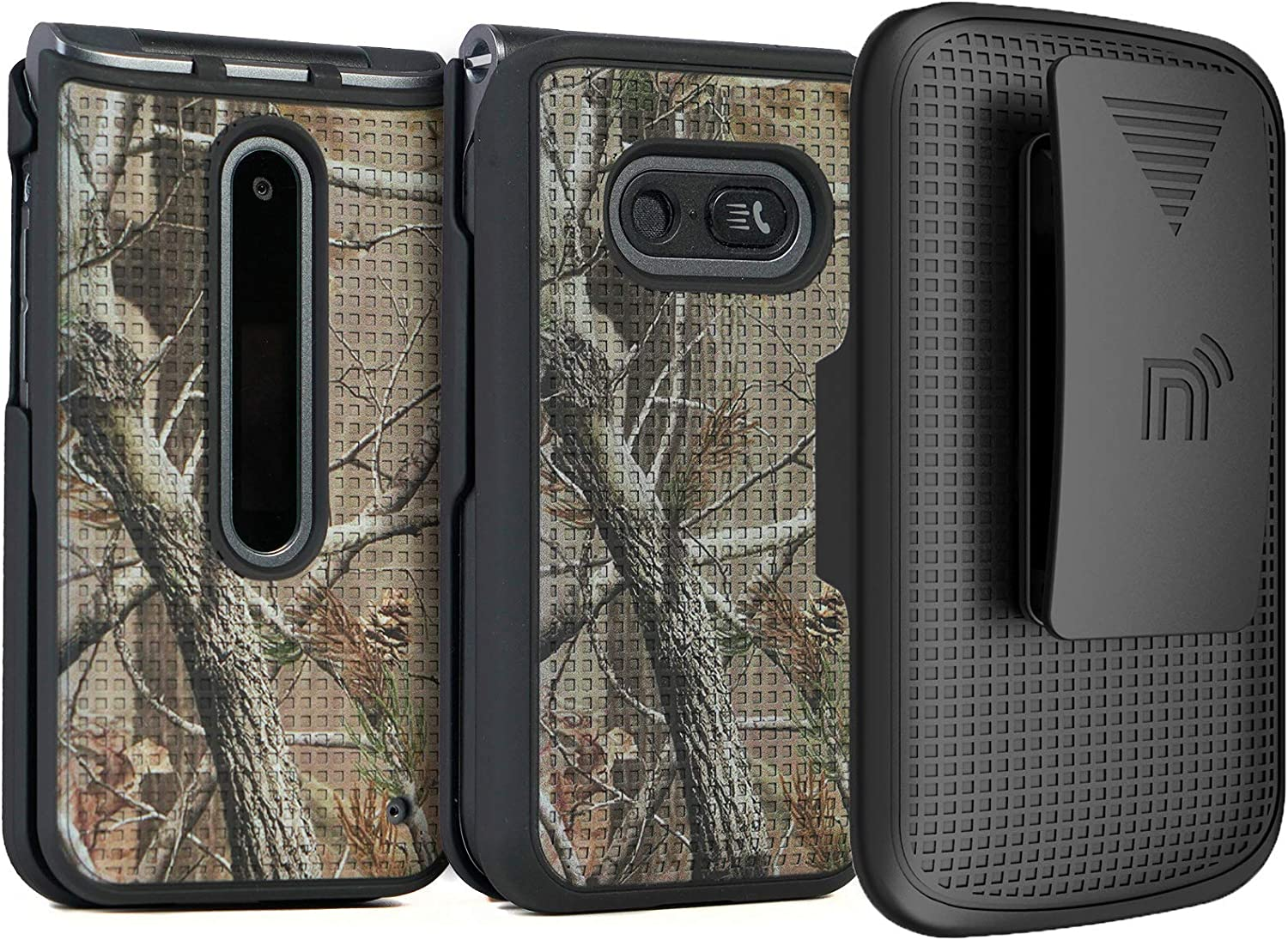 Case with Clip for LG Classic Flip, Nakedcellphone [Outdoor Camouflage] Tree Leaf Real Woods Camo Cover with Belt Hip Holster for LG Classic Flip Phone L125DL