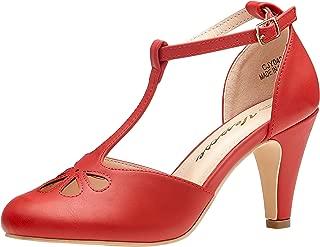 Women's 1920s Kitten Heels T-Strap Mary Jane Pumps Round Toe Teardrop Vintage Flapper Girl Dress Shoes