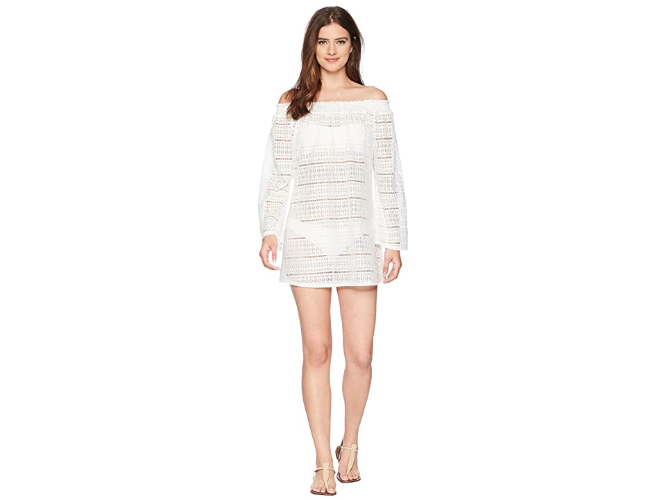 Kenneth Cole To The Beat Off the Shoulder Elastic Bell Sleeve Dress Cover-Up (White) Women
