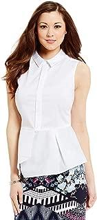 Antonio Melani Kennedy Point Collar Sleeveless Pleat Peplum Top