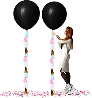 Treasures Gifted Gender Reveal Party Supplies 36 Inch Jumbo Black Balloons with Confetti and White Pink Gold Blue Tassels for Boy or Girl Neutral Decorations (2 Pack)