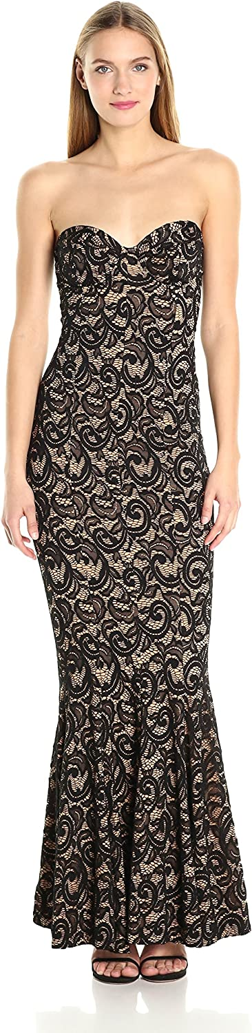 Norma Kamali Womens Corset Gown in Black Lace Dress