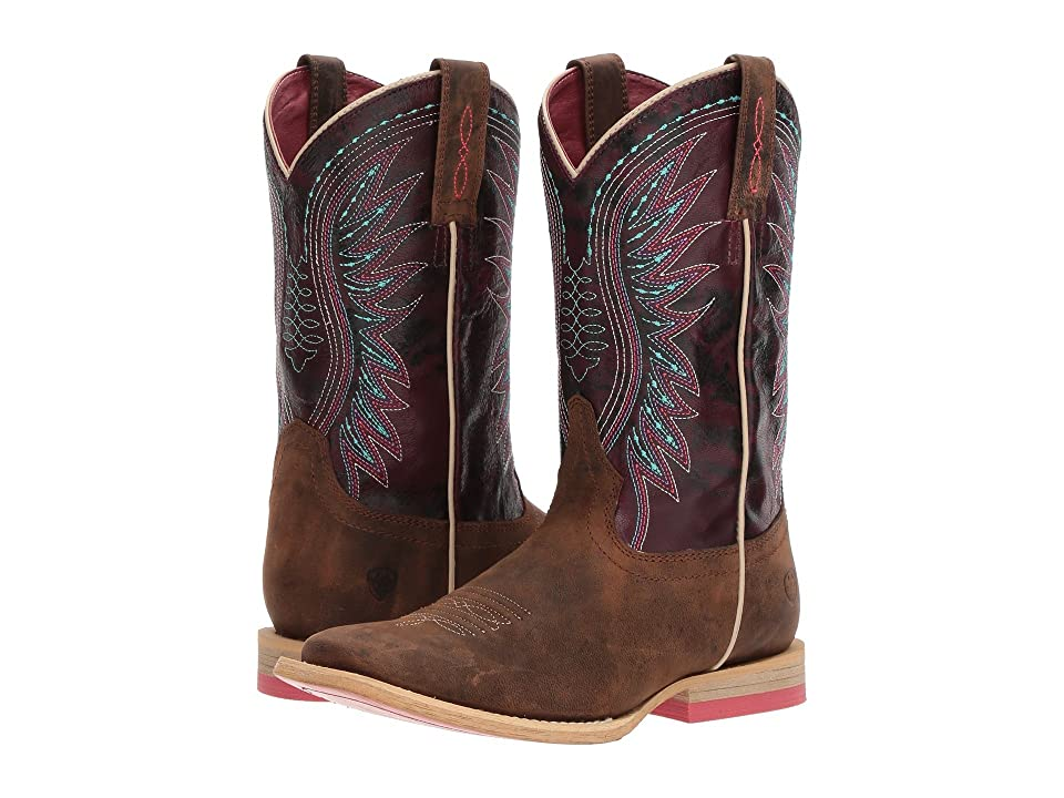 Ariat Kids Vaquera (Toddler/Little Kid/Big Kid) (Weathered Brown/Sunset Purple) Cowboy Boots