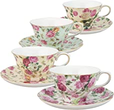 Gracie China by Coastline Imports Rose Chintz 8-Ounce Porcelain Tea Cup and Saucer, Set of 4