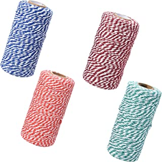 4 Rollen x 100 m Baumwollschnur mit Zwei Fäden, Gartenschnur zum Dekorieren, Geschenkverpacken, Backen - 2 mm Durchmesser | Rot  Weiß  Blau  Grün