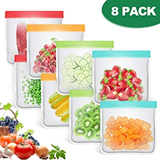 bedee 8 PCS Bolsas Silicona Reutilizables para Almacenamiento, Alimentos Bolsa de Conservación Bolsas Reutilizables Compra|Bolsas de Sándwich |Bocadillos Congelados | sin BPA,FDA Pass