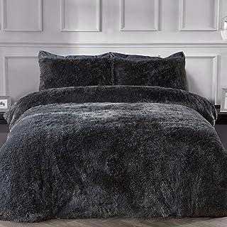 Sleepdown Fleece Luxe Lange Stapel Faux Bont Houtskool Grijs Super Zacht Gemakkelijk Onderhoud Dekbedovertrek Quilt Bedden...