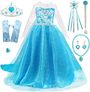 FUNPARTY Princess Costumes Dress Up for Little Girls with Wig,Crown,Mace,Gloves Accessories Age of 3-12 Years
