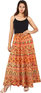 METRO-FASHION Women Floral Printed Mandala Cotton Skirt Red