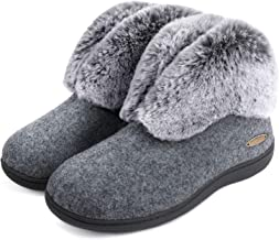 ULTRAIDEAS Women's Cozy Memory Foam Slippers with Plush Faux Fur Collar, Wool-Like Blend Cotton Closed Back House Shoes with Anti-Slip Indoor Outdoor Rubber Sole