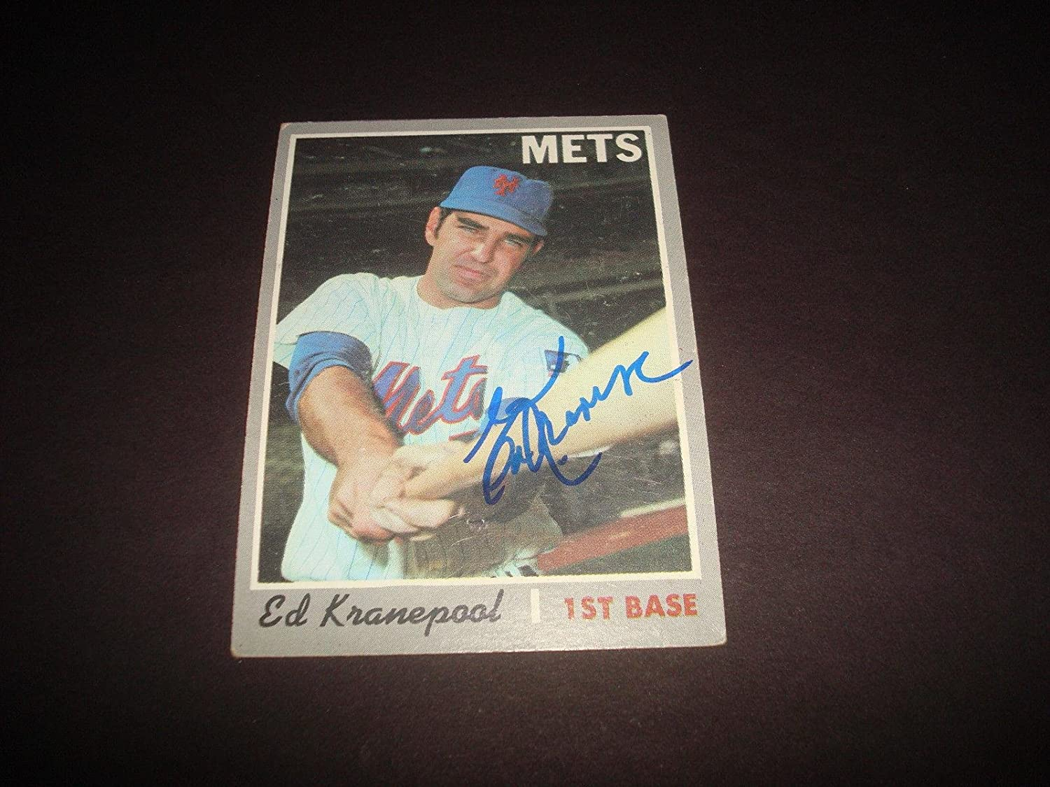 Ed Kranepool 1969 Mets 1970 Topps  557 Signed Authentic Autograph BAT Dinner  Baseball Slabbed Autographed Cards