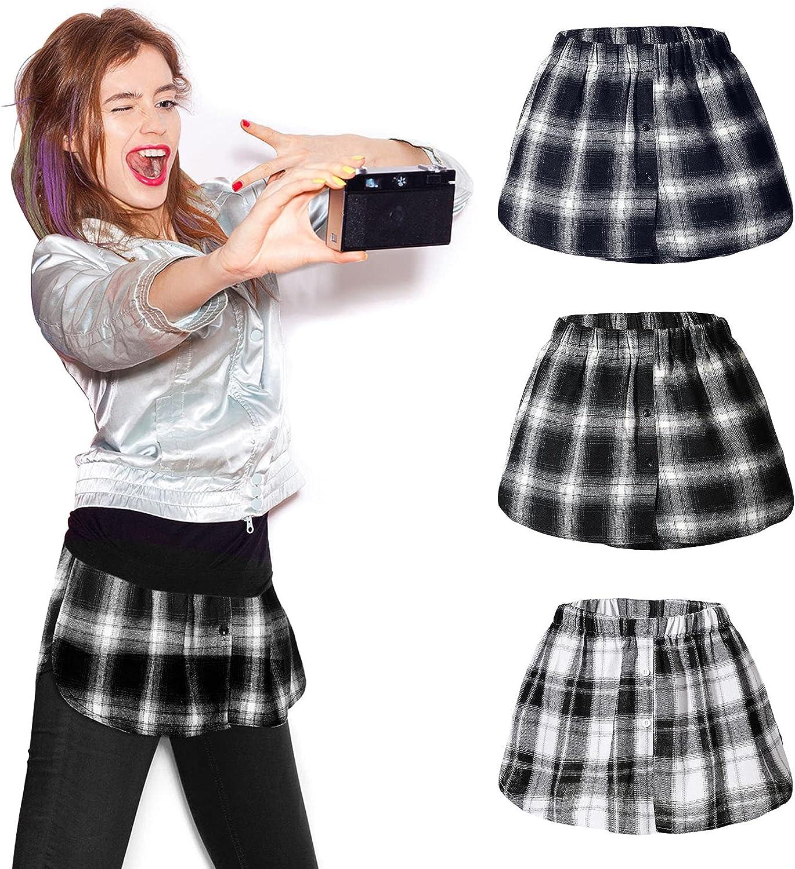 Layering Lattice Fake Top Lower Sweep Skirt Set Elastic High Waist Skirt Casual Half-Length Basic Splitting for Women Girls