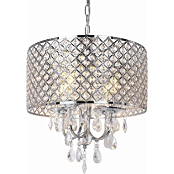 16.5 inch 4-Light Crystal Chandelier Ceiling Light with Beaded Round Drum Metal Shade, Antique Chrome Finish Pendant Lighting, Hanging Lamp for Hallway, Kitchen, Dining Room, Living Room