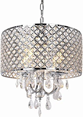 16.5 inch 4-Light Crystal Chandelier Ceiling Light with Beaded Round Drum Metal Shade, Antique Chrome Finish Pendant Lighting