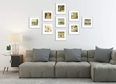 Frametory, Collage Square Frame - Made to Display Photos with Ivory Mat - Swivel Tabs, Glass Wide Molding, Wall Display - Hor
